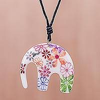 Ceramic pendant necklace, 'Delightful Daisies' - Floral Elephant Ceramic Pendant Necklace from Thailand