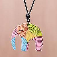 Ceramic pendant necklace, 'Rainbow Elephant' - Colorful Elephant Ceramic Pendant Necklace from Thailand