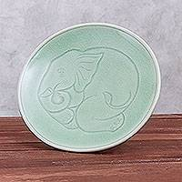 Celadon ceramic dinner plate, 'Sleeping Elephant' - Elephant Motif Handcrafted Thai Celadon Ceramic Dinner Plate