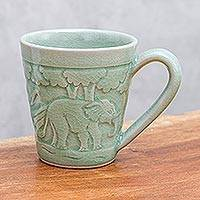 Celadon ceramic mug, 'Elephant Forest' - Elephant-Themed Celadon Ceramic Mug from Thailand