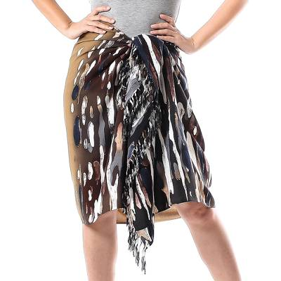 Cotton sarong, 'Umber Bark' - Hand-Painted Cotton Sarong in Umber from Thailand