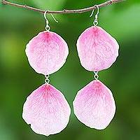 Natural rose dangle earrings, 'Pretty Rose in Pink' - Natural Rose Dangle Earrings in Pink from Thailand