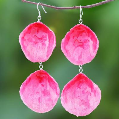 Natural rose dangle earrings, 'Pretty Rose in Fuchsia' - Natural Rose Dangle Earrings in Fuchsia from Thailand