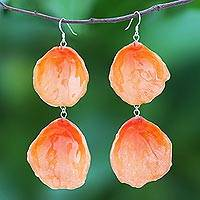 Natural rose dangle earrings, 'Pretty Rose in Orange' - Natural Rose Dangle Earrings in Orange from Thailand