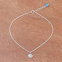 Silver and quartz anklet, 'Charming Shell' - Sea Life-Themed Karen Silver and Quartz Anklet from Thailand