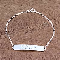 Sterling silver pendant bracelet, 'Lovely Touch' - Love-Themed Braille Sterling Silver Pendant Bracelet