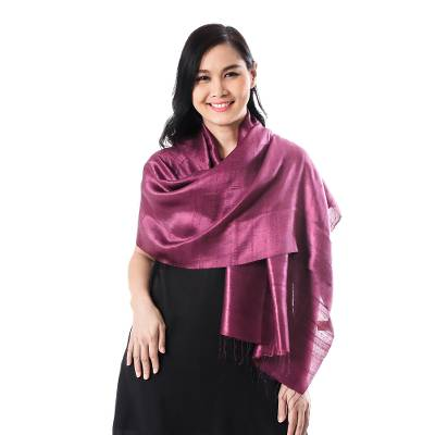 Silk scarf, 'Otherworldly in Plum' - Silk Wrap Scarf in Solid Plum from Thailand