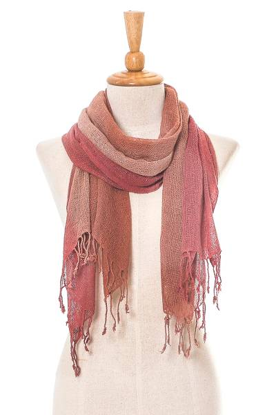 Silk scarf, 'Elusive Spring' - Burnt Orange and Dusty Rose Silk Wrap Scarf from Thailand