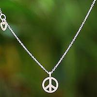 Rose gold accented sterling silver pendant necklace, 'Heart for Peace' - Rose Gold Accented Sterling Silver Peace Necklace
