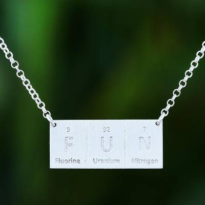 Sterling silver pendant necklace, 'Formula for Fun' - Artisan Crafted Thai Sterling Silver Pendant Necklace