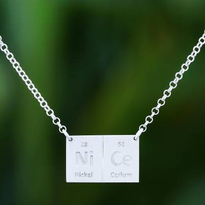 Sterling silver pendant necklace, 'Formula for Nice' - Fair Trade Thai Sterling Silver Pendant Necklace