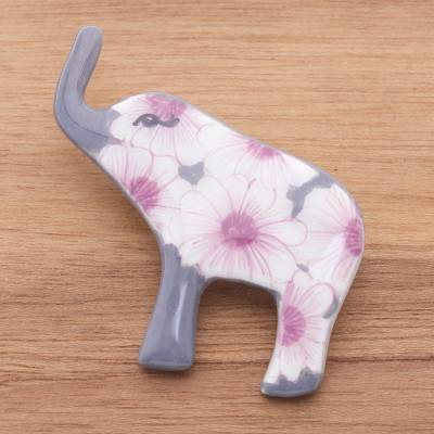 Ceramic brooch pin, 'Grey Floral Elephant' - Hand Painted Elephant Brooch Pin with Flowers on Grey