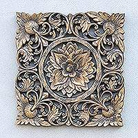 Teakwood relief panel, 'Thai Sunflower' - Sunflower Motif Teakwood Relief Panel from Thailand
