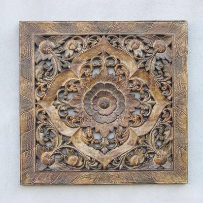 Teak wood relief panel, 'Floral Symmetry' - Floral Teak Wood Relief Panel in Rustic Brown from Thailand