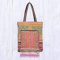 Cotton blend tote, 'Sunny Hmong' - Hmong Hill Tribe Embroidered Cotton Blend Tote from Thailand