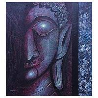 'Twilight Buddha' - Expressionist Buddha Painting in Purple from Thailand