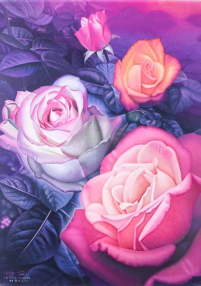 'Rose of Dream' - Signed Painting of Four Roses from Thailand