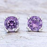 Amethyst stud earrings, 'Sparkling Gems' - Faceted Amethyst Stud Earrings from Thailand