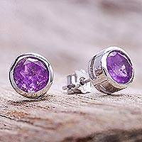 Amethyst stud earrings, 'Round Star' - Round Amethyst Stud Earrings from Thailand