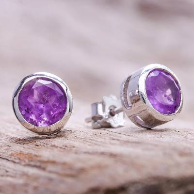 Amethyst stud earrings, Round Star