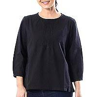 Cotton blouse, 'Onyx Thai Style' - Cotton Blouse in Solid Black from Thailand