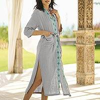 Cotton robe, 'Blue Diamonds' - Diamond Embroidered Cotton Robe in Ash from Thailand