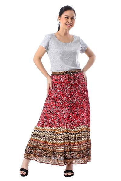 Rayon skirt, 'Fantastic Floral Garden' - Rayon Skirt with Printed floral Motifs from thailand