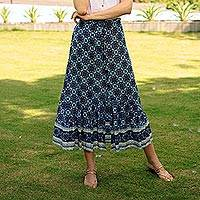 Rayon skirt, 'Fascinating Evening' - Floral Motif Rayon Skirt in Blue from Thailand