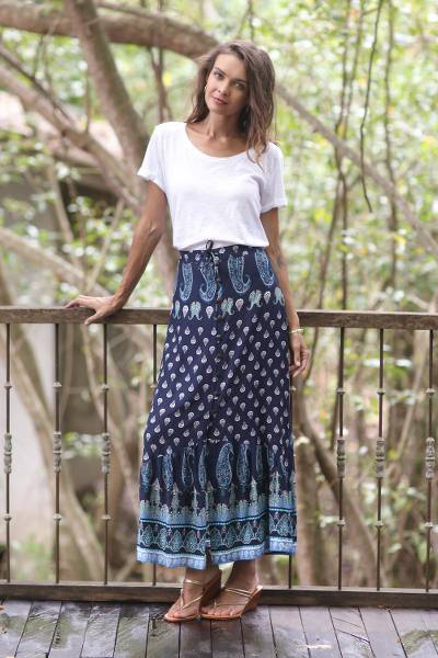 Rayon skirt, 'Navy Paisleys' - Paisley Motif Printed Rayon Skirt from Thailand