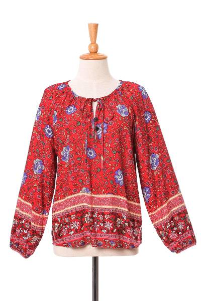 Rayon blouse, 'Poppy Garden' - Floral Rayon Blouse in Poppy Crafted in Thailand