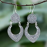 Sterling silver dangle earrings, 'Moon Patterns' - Karen Hill Tribe Silver Dangle Earrings from Thailand
