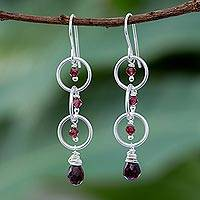 Garnet dangle earrings, 'Natural Orbits' - Natural Garnet and Sterling Silver Ring Dangle Earrings