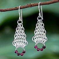 Garnet dangle earrings, 'Bead Fascination' - Garnet Beaded Dangle Earrings with Sterling Silver Rings