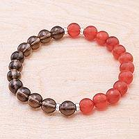 Carnelian and smoky quartz beaded stretch bracelet, 'Beautiful Contrast' - Carnelian and Smoky Quartz Beaded Stretch Bracelet