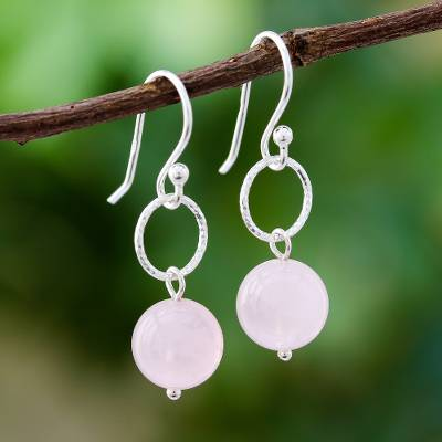 Rose quartz dangle earrings, 'Ring Shimmer' - Round Rose Quartz Dangle Earrings Crafted in Thailand