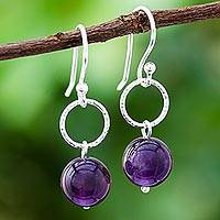 Amethyst dangle earrings, 'Ring Shimmer' - Round Amethyst Dangle Earrings Crafted in Thailand