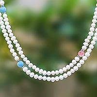 Cultured pearl and chalcedony long strand necklace, 'Sweetness' - Long Cultured Pearl and Gemstone Strand Necklace