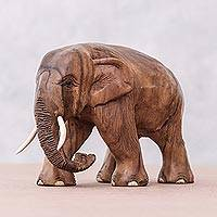 Teakwood sculpture, 'Trip Through Nature' - Hand-Carved Teakwood Elephant Sculpture from Thailand