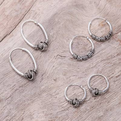 Sterling silver hoop earrings, 'Patterned Knots' (set of 3) - Knot Pattern Sterling Silver Hoop Earrings (Set of 3)