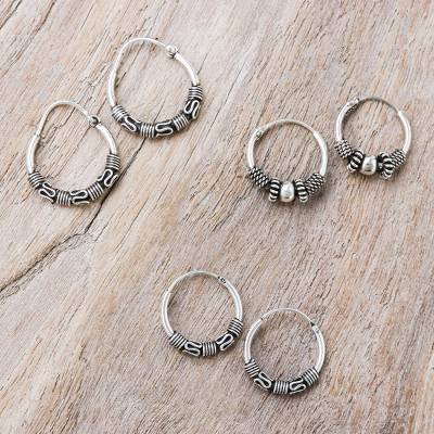 Sterling silver hoop earrings, Traditional Thailand (set of 3)