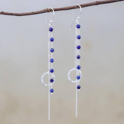 Lapis lazuli dangle earrings, 'Solar Love' - Lapis Lazuli Dangle Earrings with Sterling Rings