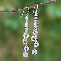 Garnet dangle earrings, 'Song of Rain' - Circle Pattern Modern Garnet Dangle Earrings from Thailand