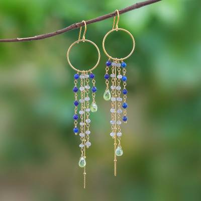 Gold plated multi-gemstone waterfall earrings, 'Luxurious Rain' - Gold Plated Multi-Gemstone Waterfall Earrings from Thailand
