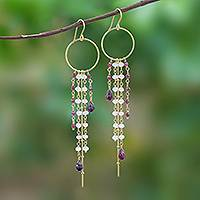 Gold plated garnet and rainbow moonstone waterfall earrings, 'Luxurious Rain' - Gold Plated Garnet and Rainbow Moonstone Waterfall Earrings