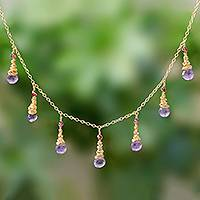Gold plated amethyst and garnet waterfall necklace, 'Lavender Bliss' - Gold Plated Amethyst and Garnet Waterfall Necklace