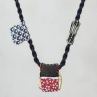 Cotton pendant necklace, 'Laid Back' - Printed Cotton Pendant Necklace Crafted in Thailand