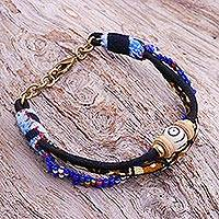 Glass and cotton beaded strand bracelet, 'Bohemian Friendship' - Glass and Cotton Beaded Strand Bracelet in Blue