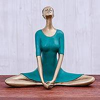 Brass sculpture, 'Butterfly Pose in Green' - Patina Brass Butterfly Pose Yoga Sculpture from Thailand