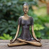 Brass sculpture, 'Half Lotus Pose' - Antiqued Brass Half Lotus Pose Brass Yoga Sculpture