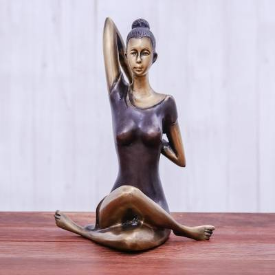 Brass sculpture, Cow Face Pose